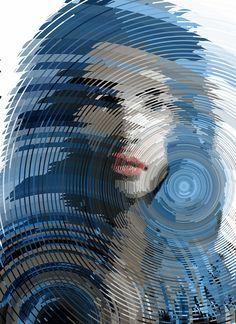 """Half truths"" - Sergio Albiac  {contemporary artist female head blue woman face portrait #mixed_media illustration} Vertigo !!"