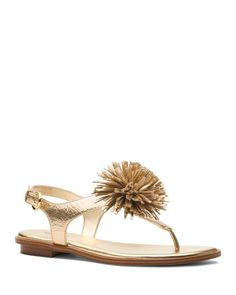 ebf656eca MICHAEL Michael Kors Women s Lolita Leather Pom-Pom Thong Sandals Shoes -  Bloomingdale s