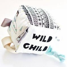 Wild Child Handprinted Soft Baby Activity Block by Babee & Me