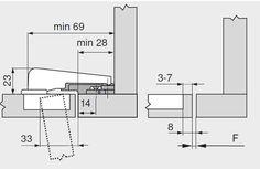 Balama usi incadrate aplicatie cu lezena Modul 99M9550 Blum, detalii montaj si cote Modul, Wood Working, Floor Plans, Diagram, Kitchens, Woodworking, Wood Crafts, Carpentry, Floor Plan Drawing