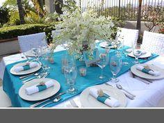 wedding flowers  www.myfloweraffair.com  turqoise wedding flowers, blue wedding flowers, sea shells, beach wedding, orchids, blue linens, white linens