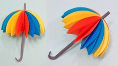 DIY Paper craft for kids . How to make a paper umbrella - Paper craft tutorial # DIY Paper Craft # Umbrella Making paper craft umbrella This video Showing - . Color Paper Crafts, Paper Crafts For Kids, Diy Arts And Crafts, Diy Paper, Diy Crafts, Umbrella Decorations, Paper Decorations, Art Drawings For Kids, Art For Kids