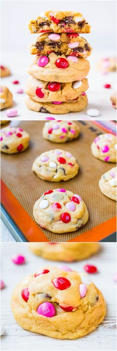 Soft M&M Chocolate Chip Cookies - Seriously! The softest, thickest, best M&M cookies ever! People love these big cookies loaded with M&Ms & chocolate! Yummy Cookies, Yummy Treats, Sweet Treats, Cookies Soft, Pudding Cookies, Cake Cookies, Shortbread Cookies, Just Desserts, Delicious Desserts