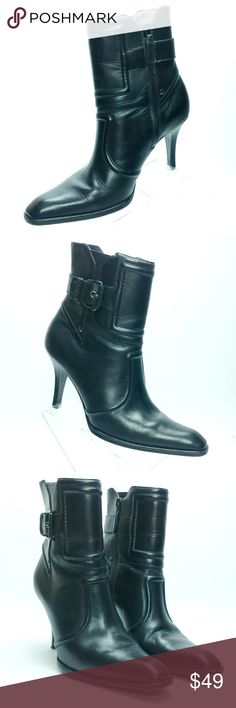 COLE HAAN D22706 Black Leather Ankle Boots MINT COLE HAAN black leather boots, style #D22706. Heels are 3-1/2 inches with side zipper and silvertone hardware. Made in Brazil of buttery soft leather in good wonderful, barely-worn condition! Perfect for work or play and only worn a couple of times with barely any wear, as seen in photos.  Womens Size 6-1/2 B (medium) Cole Haan Shoes Ankle Boots & Booties
