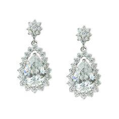 "CZ drop earrings with multi-stone edge, 1.3"" long.  Non-tarnishing rhodium plate (over brass).  $63.00 at Giavan.com"