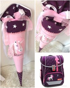 Unicorn school bags INCL name- Unicorn school bags INCL Name Here you see a totally cute unicorn made … - Make School, School Bags For Girls, Back To School Outfits, Kids Outfits Girls, Kids Girls, Girl Outfits, Cute Outfits, Diy Purse Frame, Fashion Bags