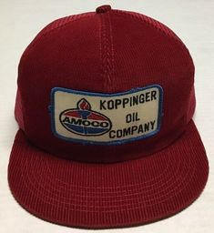 Vtg Koppinger Oil Trucker Hat Amoco Cap Oilfield Gas Made In The USA K  Products  70cb1d78c8b1