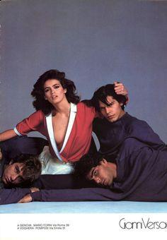 Italian Vogue 1980 Gianni Versace #versace Photo Richard Avedon  Models : Jerry Hall, Rosie Vela, Marcus Abel, Rene Russo, Tony Spinelli, Gia Carangi & Unknowns