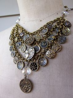 #InspiredByVintage  Vintage Button Necklace Steampunk Necklace  by rebecca3030 on Etsy.  I love the use of Victorian buttons and chandelier crystals!