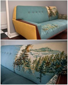 yep, this is a MEGA DIY. embroidered sofa, also amazing way to fix old sofa with style