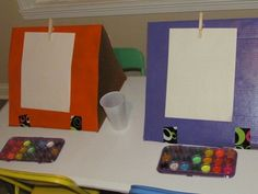 DIY cardboard easel that could be easily made to collapse for easy storage