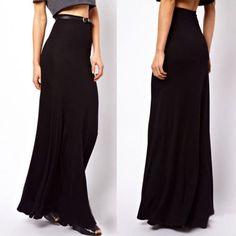 Womens Solid Long Maxi Skirt Modal Cotton Full Length High Waist Stretchy Dress