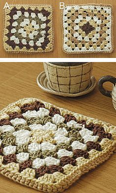 Granny square potholder (free pattern @ ravelry)- Note: Great beginner project to  teach my art students when I'm teaching them to crochet.