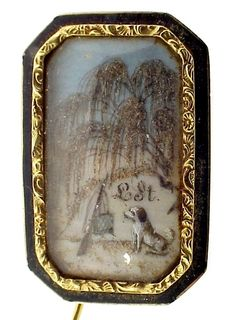 A gold, black enamel, ivory and crystal mourning brooch, c.1790; the painted scene shows a dog, symbol of loyalty, beneath a willow tree, symbol of sorrow, before a hunting bag and rifle, symbols of the deceased 'L St'; hair has been included in the scene. (Kensington House Antiques/collectorsnet)