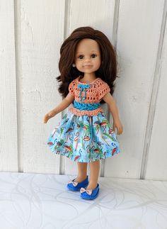 "Clothes for dolls Paola Reina doll 12""/32 cm crochet dress for doll clothing for doll Barbie Clothes, Barbie Dolls, Doll Shop, Dress With Cardigan, Handmade Dresses, Crochet Cardigan, Cotton Fabric, Summer Dresses, Clothing"