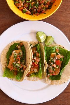 Easy pan fried fish tacos with pico de gallo salsa. They are similar to Baja style fish tacos except the fish is lightly floured and pan fried instead of battered and deep fried. The taste of the fish is more delicate.