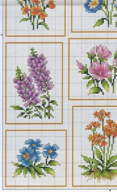Cross-stitch Flowers, part 1..  color chart on part 3 & 4...    Gallery.ru…