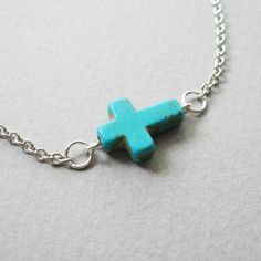 Sideways Turquoise Howlite Cross Necklace, SA440 Silver. $15.00  Like Sultry Affair on Facebook and get 10% off, must send message with email.  http://www.facebook.com/pages/Sultry-Affair-Jewelry/165908186803159