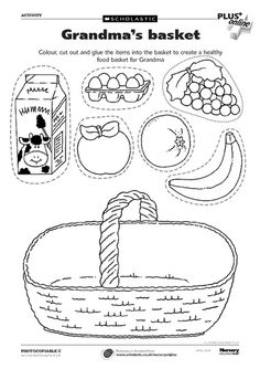 Help make a healthy food basket for Little Red Riding Hood& Grandma Early Years Teaching, Fairy Tales Unit, Fairy Tale Theme, Picnic Theme, Traditional Tales, English Activities, Cut And Paste, Eyfs, Kindergarten Worksheets