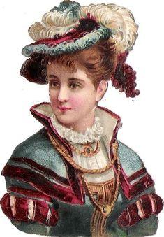 Oblaten Glanzbild scrap die cut  chromo Dame Lady femme Feder Hut  feather hat