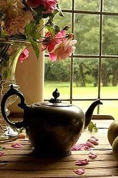 black tea pot with rose Rose Cottage, Cottage Style, Window View, My Cup Of Tea, Chocolate Pots, High Tea, Belle Photo, Afternoon Tea, Tea Set