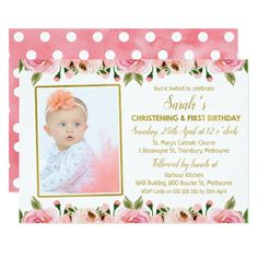 Pink Gold Christening 1st Birthday invitation #girls #calligraphy #baptism #invitation #calligraphy