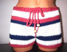 Crochet Women Boy Shorts in Red, White and Navy Blue with Wooden pearl. $33.00, via Etsy.