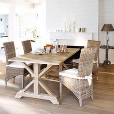 Table de salle à manger en chêne L 200 cm Ramatuelle   Maisons du Monde