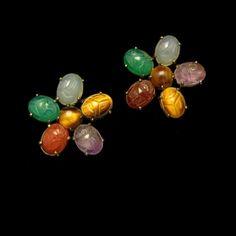 Mid Century Symmetalic Sterling Egyptian Scarabs Vintage Earrings Gemstones Silver Gold Filled #MyClassicJewelry
