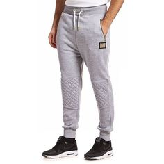 Supply & Demand Break Joggers (£30) ❤ liked on Polyvore featuring men's fashion, men's clothing, men's activewear, men's activewear pants, grey marl, mens activewear and mens activewear pants