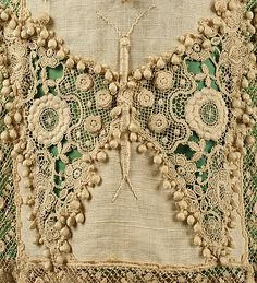 ~c. 1910 Linen & silk Edwardian day ensemble. The cutwork in the linen exposes the celery green silk underneath. The linen dress also has cutwork and heavy lace appliques~
