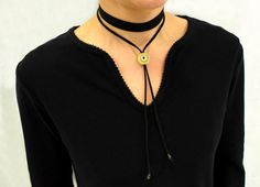 Evil Eye Necklace, Choker Necklace, Black Choker, Suede Choker, Wrap Choker Necklace, Tie Choker Necklace, Beaded Choker, Evil Eye Jewelry