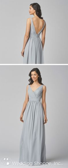 Elegant and refined long chiffon bridesmaid dress with deep V front and back.