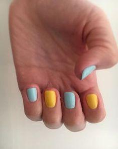 Yellow Blue Nails 28