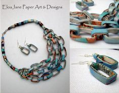 Necklace and earrings set made of recycled paper by designer EloaJane. The qualities and richness of prints on magazines and the earth tones of coffee filters give to these pieces uniqueness. Even when they look alike in shape, they will never look as a mass production. They are