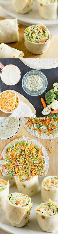 Vegetable Tortilla Roll Ups with cream cheese filling spread on tortillas topped with veggies and cheese. Slice and serve. Just like veggie pizza!