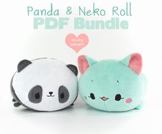 "Panda and Cat roll plush sewing patterns - easy DIY 12"" stuffed animal PDF make your own soft toy"