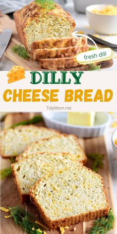 DILLY CHEESE BREAD is a soft and flavorful quick bread with sharp cheddar, parmesan, and dill weed weaved throughout. Perfect alongside a bowl of chili, soup, or pasta it will easily become a family favorite! PRINTABLE RECIPE at TidyMom.net