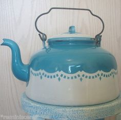 how french country!!!!! love it!! #teakettle, #blue #frenchcountry