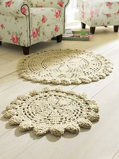 Doily rugs. Tutorials: http://www.alwaysrooney.com/2013/09/how-i-made-my-own-giant-doily-rug.html  http://www.craftpassion.com/2012/07/giant-doily-rug.html/2