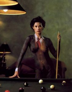 Demi Moore by Annie Leibovitz. I love this bc, it took HOURS for the artist to paint Demi suit on her.