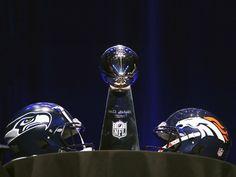NFL Super Bowl 2014: Feb 2, 2014 - Broncos vs Seahawks - Super Bowl XLVIII Helmets, Lombardi Trophy