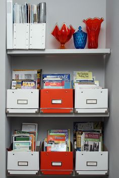 Another way of storing your magazines (etc) by category so that you can still flip through them.