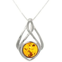 Behold the glory of this sterling-silver pendant necklace. The radiance of the amber stone is set off by the highly polished finish for an effect that is nothing short of stunning. A spring-ring clasp keeps this little beauty securely on your neck.