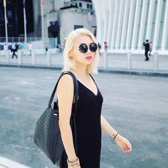 blonde hair, don't care  #blonde #style #fashion #dress #lbd #hair #photo