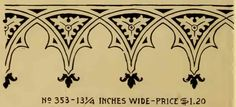 Gothic style stencil from an Alabastine Paint stencil booklet, c. 1910s.