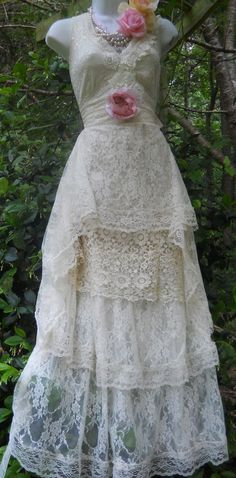 Cream #lace #dress #wedding  crochet vintage ivory by vintageopulence, $160.00 #floral #romantic