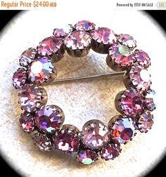Pink aurora borealis rhinestone brooch- Round Brooch-Vintage Pink Rhinestone…