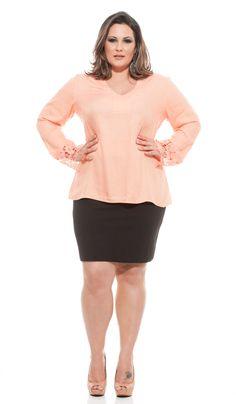 Camisa social plus size feminina