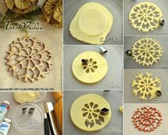 Salt dough designs, from Russia possibly? A basic salt dough recipe would work. These lacy creations could be made out of polymer clay as well. Someone has a very logical and inventive mind! Salt Dough Christmas Ornaments, Clay Christmas Decorations, Polymer Clay Christmas, Homemade Ornaments, Diy Ornaments, Ornaments Recipe, Snowflake Craft, Snowflake Ornaments, Diy Snowflakes